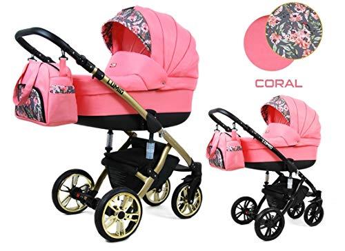 Kinderwagen 3in1 2in1 Megaset Buggy Autositz Babyschale Sportsitz Lumi by ChillyKids Coral 3in1 mit Autositz