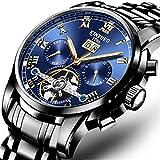 Rolexes Clock Shop Reloj de Hombre Cronógrafo Militar Resistente al Agua Reloj de Cuarzo de Negocios Reloj de Pulsera de Moda Casual,Azul