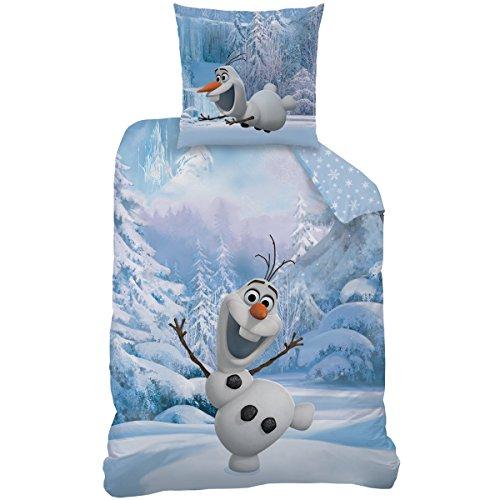 Disney Frozen Snowman Parure de lit, Coton, Bleu, 135x200x1 cm