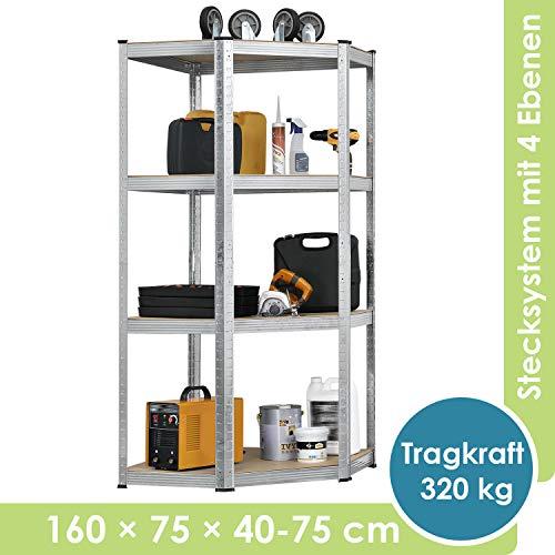 Juskys Eckregal Corner Easy | 4 Böden aus MDF Holz | 320 kg | Metall verzinkt | Schwerlastregal Steckregal Lagerregal Kellerregal
