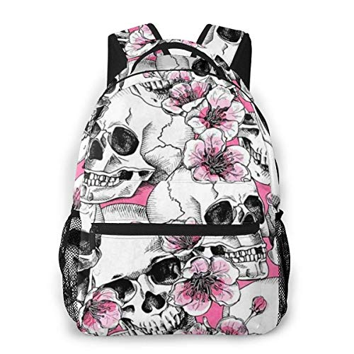 Lawenp Skull With Flowers Pink Cherry Seamless Pattern Casual Backpack For School Outdoor Travel Big Student Fashion Bag