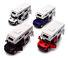 "Set of Four 1/46 Scale cars made by Kinsmart! Includes the following colors: Black, White, Red, Blue 5502D Kinsmart - 2013 Ford F-150 SVT Raptor SuperCrew Pickup Truck Camper. 1/46 scale diecast collectible model car. This Ford F 150 pickup is a 6""Lx..."
