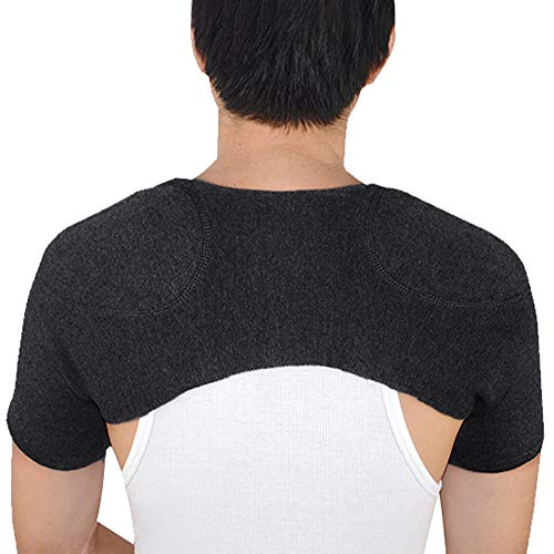 ITODA Knitted Double Shoulder Brace Warm Support Stability Compression Sleeve Wrap Recovery Office Home Knit Cashmere Guard for Rotator Cuff Shoulder Chronic Tendonitis Pain Relief