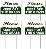 Dimarongton Stay Off Grass Sign with Stake - Keep Off Grass Sign - Do Not Walk On Grass Sign - On Off Sign - Keep Dog Off Grass - Keep Off Lawn Sign - No Parking On Grass Sign - Sign Do Not Poop 6X9