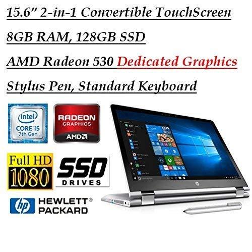 HP X360 15.6 Inch Full HD Touchscreen 2-in-1 Convertible Laptop with Stylus Pen (Intel Core i5-7200U, 8GB RAM, 128GB SSD, AMD Radeon 530 2GB Dedicated Graphics, HDMI, Bluetooth)