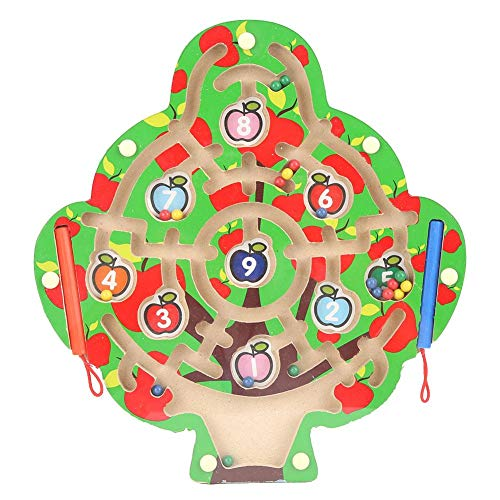 Laberinto de números de Varita magnética, Tablero de Actividades de Madera Juego de Tablero de Entrenamiento Cerebral para niños Gran Regalo para niñas y niños de 3 a 5 años
