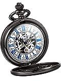 Reloj de Bolsillo Mecánico de Hombres Reloj de Steampunk de Esfera Romano con Cadena de Acero para Regalo de Padre (Negro)