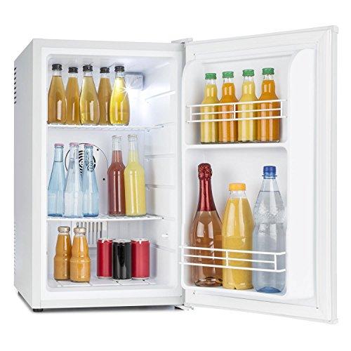 Klarstein MKS-6 Mini-Kühlschrank mit 66 Liter Volumen und 83 Watt, Sleek Edition, freistehend, 3 Temperaturstufen 5 bis 15 °C, 33 db, Innenbeleuchtung, Regaleinschübe, Seitenfächer, weiß