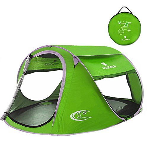 ZOMAKER Pop Up Tent 2-4 Person, Beach Tent Sun Shelter for Baby with UV Protection ,Automatic and Instant Setup Tent for Family (Green)