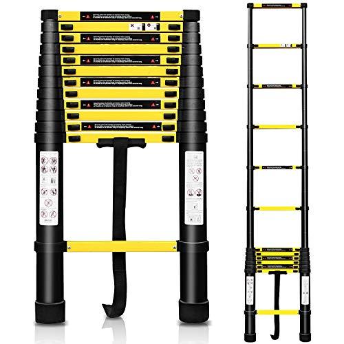 Hengda 3.8m Teleskopleiter Alu Leiter Schiebeleiter Klappleiter Ausziehleiter 13 Sprossen aus Hochwertiges Aluminium mit Softclose-System Leicht zu tragen max Belastbarkeit 150 kg