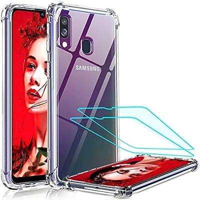 LeYi Funda Samsung Galaxy A40 con [2-Unidades] Cristal Vidrio Templado, Cristal Transparente Shockproof Carcasa Ultra Silicona PC y TPU Slim Gel Bumper Antigolpes Cover Case para Movil A40, Clear