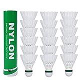 Fostoy 18 Stück Badminton Federball, Badminton Bälle, Federball Shuttle Mit hoher Stabilität und Haltbarkeit Federball (Weiß)