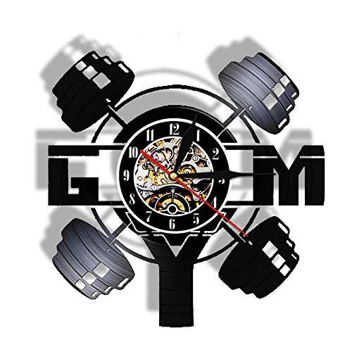 Eld 30cm Gym Levantamiento de Pesas Fitness Reloj de Pared Creativo Control Remoto Levantamiento de Pesas Silencioso Reloj Moderno de Vinilo LP Reloj Slient Música Arte Registro Relojes de