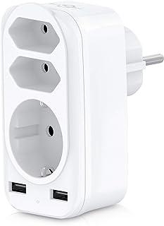 Steckdosenadapter, KEPLUG USB Steckdose, 3 Steckdosen  4000W  und 2 USB Anschluss  2.4A , mehrfachsteckdose für Hause, Reise, Büro