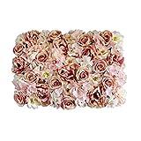 Künstliche Blumen Säule Wand, Kunstblumen Panel für Garten Hochzeit Dekor - Hell-Rosa, 60 x 40 x 9 cm