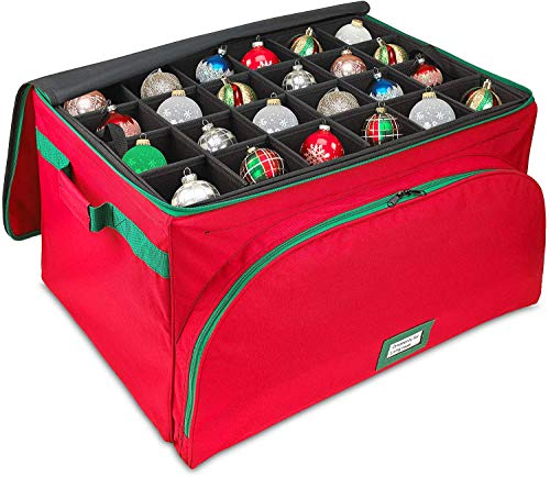 Premium Christmas Ornament Storage Box - Holds Up to 72 Ornaments, Quality Holiday Decoration Organizer - 600D Canvas with Self-Standing Steel Frame Design for Added Durability