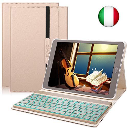 KVAGO Custodia Tastiera per Samsung Galaxy Tab S2 9.7, Italiano Tastiera Bluetooth Senza Fili con Retroilluminazione a 7 Colori e Funzione Auto Wake/Sleep, Oro