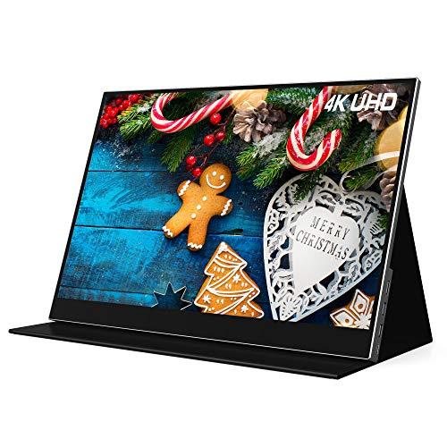 15.6' 4K Portable Monitor AOQ Ultra Slim 3840x2160 Gaming Monitor Display for PS5 Xbox Series X/S Switch Laptop TV Stick HD USB C 100% sRGB Gamut HDR