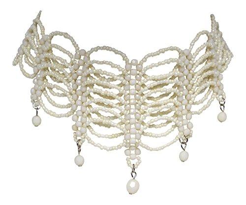 Ivory Perlen- Burlesque Trachtenschmuck Kette - Trachtenkette weiß - Kropfkette/Collier
