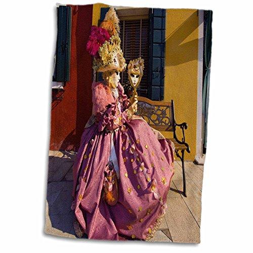3dRose Toalla Italia, Venecia, Carnaval Festival Disfraces, Eu16 Bja0793, Jaynes Gallery, Blanco, 15 x 22-Inch