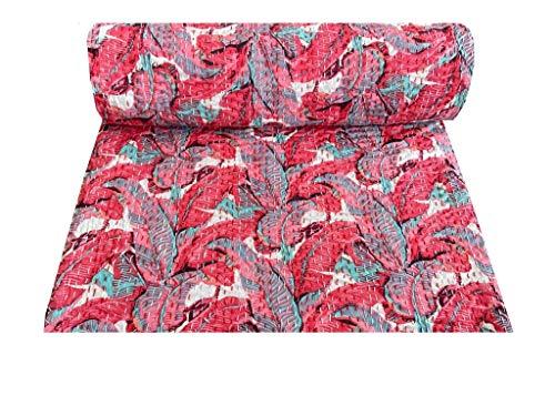 Indian-Shoppers Colcha de algodón bohemia acolchada india étnica colcha de algodón kantha colchas tamaño Queen color rojo algodón floral estampado dormitorio manta decoración