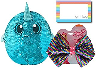 Shimmeez Reversible Sequin Plush and JoJo Siwa Sequined Hair Bow Set, Animal Plush Toys, Unique Sets for Kids, Birthday Gift Ideas for Girls (Arlo with A JoJo Bow)