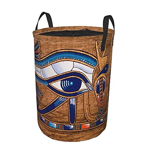 Cesta de lavandería plegable grande,Papiro egipcio que representa el ojo de H,Cesto de almacenamiento de lavandería plegable redondo impermeable con cordón con asas,Bolsa de ropa sucia 14'x19'