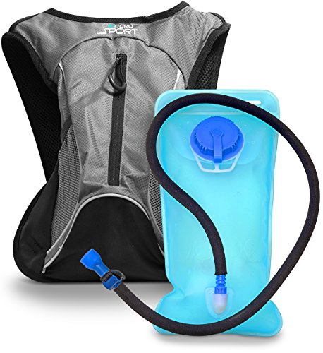 Aduro Sport Hydration Backpack [Hydro-Pro], 1.5L / 2L / 3L BPA Free Water Bladder, Unisex, Water Resistant, Durable, Light Weight, Adjustable Sizing (Gray, 1.5 Liters (50 Fl. Oz))