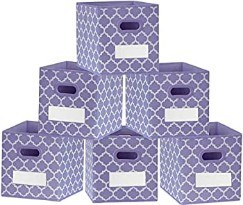 homyfort 13x13x13 Large Storage Cubes - Set of 6 Storage Bins - Foldable Fabric Toy Box Organizer Baskets Containers with Handles for Closet,Shelf,Bedroom  Purple