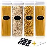 C100AE Juego de 6 recipientes de almacenamiento para alimentos con tapa hermética, conservadores sin BPA, recipientes de plástico transparente, recipientes para cereales y nueces, 4 unidades