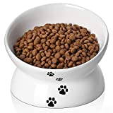 Y YHY Cat Bowl,Raised Cat Food Bowls Anti Vomiting,Tilted Elevated Cat Bowl,Ceramic Pet Food Bowl for Flat-Faced Cats, Small Dogs,Protect Pet's Spine,Dishwasher Safe