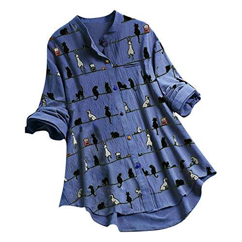 URIBAKY - Blusa de manga 3/4 para mujer, algodón y lino, con botones coloridos, blusa estampada de gato, blusa de flores vintage C-azul cielo L