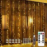 Fulighture LED Lichtervorhang,3M * 3M 300 Leds USB Lichtervorhang mit Fernbedienung,IP67 Wasserfest,Warmweiß,8 Modi Lichterkettenvorhang für Weihnachten Party, Innen und außen Deko