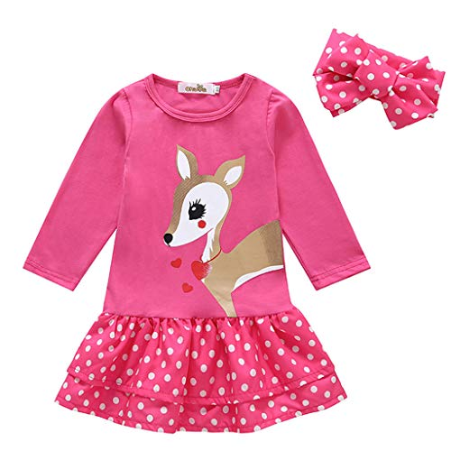 Longra mini-jurk voor babymeisjes, lange mouwen, motief hert, prinses, chique jurk voor meisjes, modieus, bohème, strand, mini-jurk, plissé, cocktailjurk