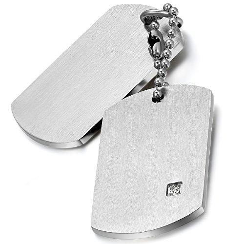 Flongo Herrenkette Männer Anhänger Halskette Silber Erkennungsmarke Dog Tag Armee Stil Kette Herren Accessoires aus Edelstahl