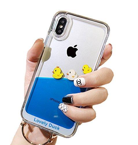 iPhone Hülle, Dynamic, blau Liquid Floating gelb Enten & Piratenschiff Flexible Soft Gummi Hülle mit Quicksand Cover für iPhone, iPhone 7 Plus / 8 Plus, Three Ducks