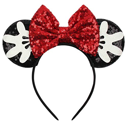 YANJIE Mouse Ears Sequin Headbands Holiday Princess Party Decoration Cosplay Costume Headwear Hair Accessories for Girls & Women Funny Gifts (Red Bow Black Ears)