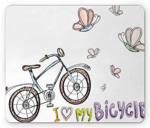 Lunarable Fahrrad Mauspad, Doodle-Stil Radfahren Freizeit Thema ein kleines Kind Fahrrad Schmetterlinge, Rechteck rutschfeste Gummi Mauspad, Standardgröße, Multicolor