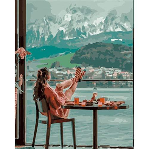 PhotoCustom Kits de pintura al óleo por números Pintura de paisaje por números en lienzo Paisaje sin marco Dibujo de bricolaje por números W1 60x75cm
