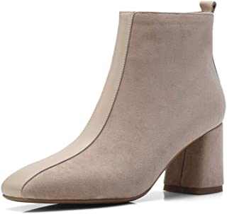 MTSL Boots and Booties for Women,Autumn and Winter Leather Thick High with Martin Boots Stretch Boots Retro Short Boots Fashion Zipper Women's Boots