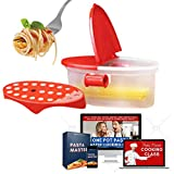 Microwave Pasta Cooker + Pasta Master Cooking Class Mastery Bundle [Pasta Boat + Cooking Class] – Cook 5 Stars Gourmet Pasta Quick and Instant + Recipe Cookbook – Perfect for Busy Mom
