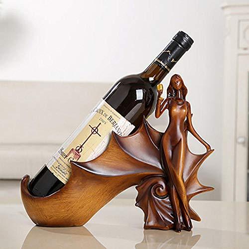 Creative Resin Crafts - Estante de vino de belleza de alta calidad, soporte único para botellas de vino, decoración del hogar (excepto vino), color madera
