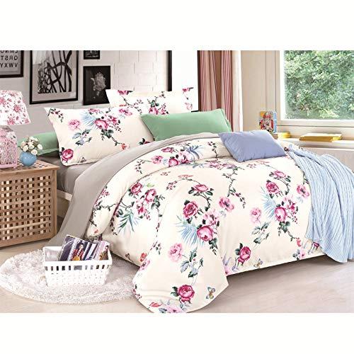 GYHH Bed Sheet Sets,Microfiber King Duvet Cover Set, 3 Pcs Ultra Soft Hypoallergenic Microfiber Quilt Cover Sets (Flower in the cloud,Single/1.0kg)