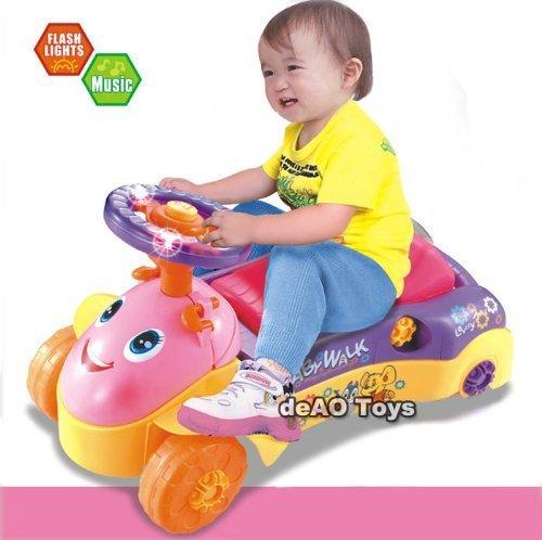 deAO 2in1 loopstoeltje en duwkrachtrit op auto met vormsorteerder, licht- en geluidseffecten