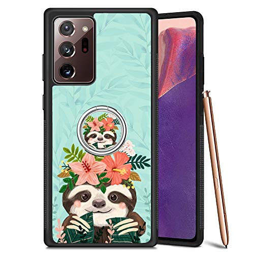 Black Samsung Galaxy Note 20 Ultra 5G Case with Ring Holder Stand Cute Sloth Pattern 360 Rotation Ring Grip Kickstand Soft TPU and PC Anti-Slippery Design Protection Bumper for Samsung Galaxy Note 20