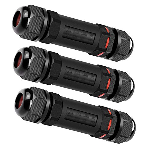 Verbindungsmuffe Kabelverbinder Wasserdicht IP68 CUJ-01 Verbindungsbox für Ø1-13 mm Kabeldurchmesser 3er-Pack,Schwarz