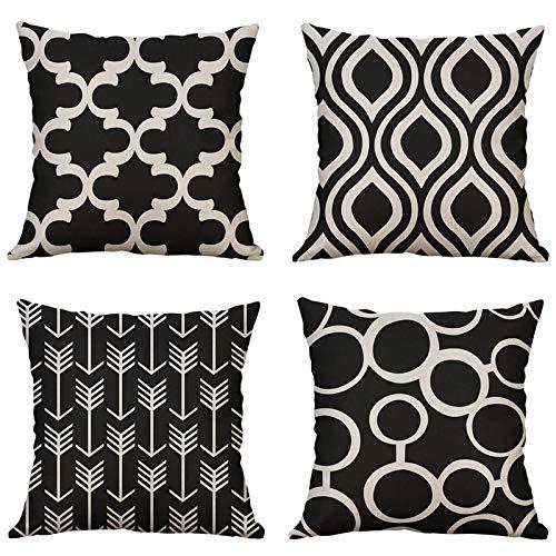 MIULEE Juego de 4 Lino Cojines Geometría Funda de Cojín Almohada Caso de Decorativo Cojines para Sala de Estar sofá Cama18 x18 Pulgadas 45x45cm