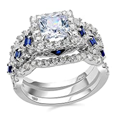 Main Stone Size:6.5*6.5mm,1.0ct.Princess cut cubic zirconia rings.This 3 pieces bridal set wedding rings include sterling silver engagement ring and cz wedding band ring.Minimal cubic zirconia wedding sets engagement rings for women and made for ever...