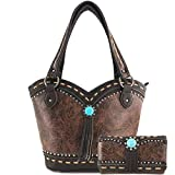 Zelris Turquoise Concho Floral Women Conceal Carry Bucket Tote Purse Wallet Set (Brown)