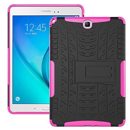 Funda Galaxy Tab A 9.7 2015 (SM-T550/SM-T555), Carcasa Original Todo Nuevo Caso 360 Grados Protección/PC + TPU 2-In-1/Heavy Duty Tough Armor/Soporte para Galaxy Tab A 9.7-Rosa